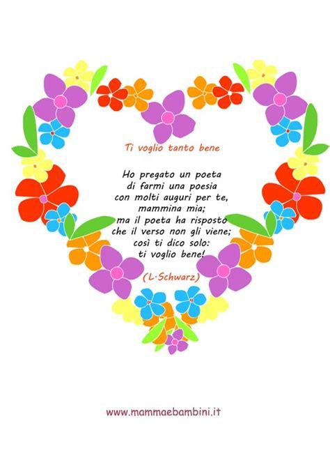 poesie di fiori poesia sulla mamma con cornice di fiori mamma e bambini