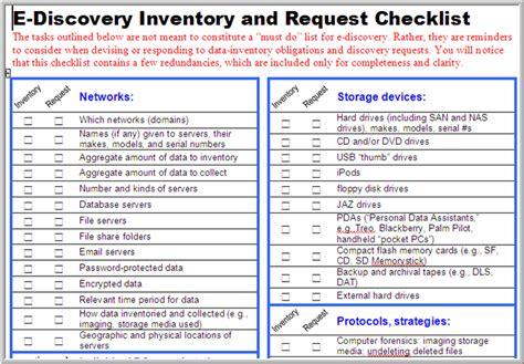 E Discovery Checklist Litigation Checklist Template