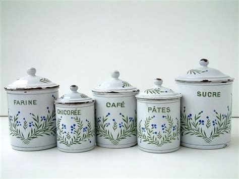 french country kitchen canisters old french vintage enamel kitchen canister set in white