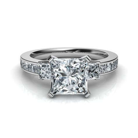 three princess cut engagement ring