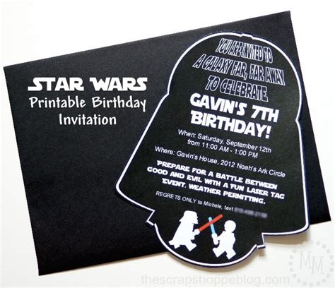 wars birthday invitation template wars darth vader printable birthday invitation diy