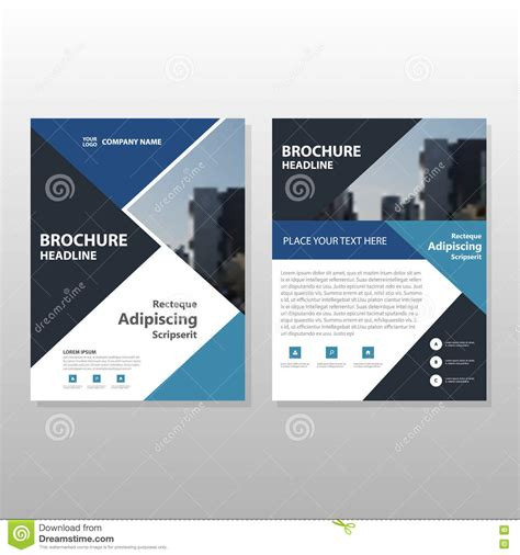 Blue Triangle Annual Report Brochure Flyer Design Template Vector Leaflet Cover Presentation Blue Flyer Template