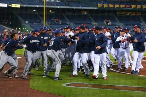 benches clear baseball see it benches clear between braves brewers after gomez