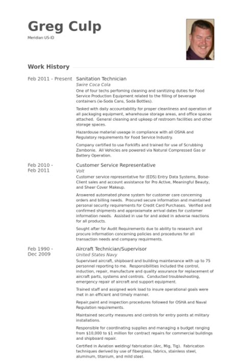 sanitation resume sles visualcv resume sles database