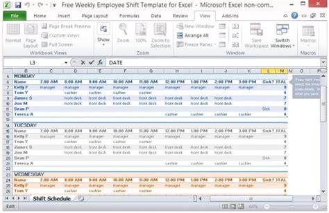Weekly Employee Schedule Template Excel Schedule Template Free Excel Plan Templates For Employees