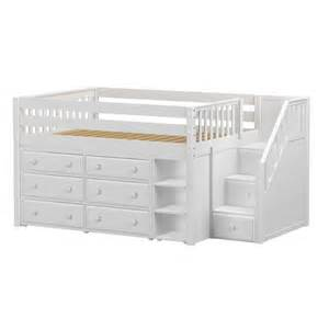 Loft Beds With Drawers Maxtrixkids Perfect1 Ws Low Loft Bed With Staircase 6 Drawer Narrow Bookcase