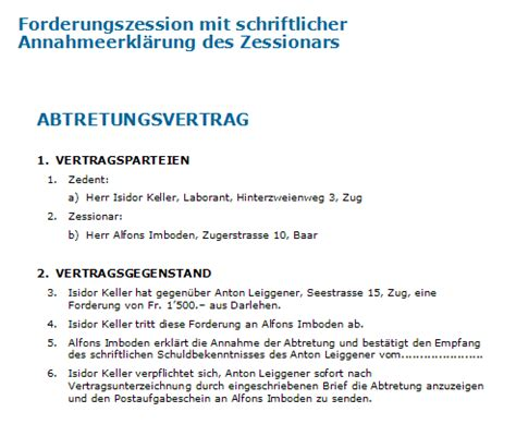 Muster Zession Schweiz Forderungsabtretung Muster F 252 R Eine Zession Zum