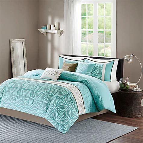 madison park phoebe  piece comforter set  teal bed bath