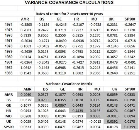 everything about finance vba for variance covariance matrix