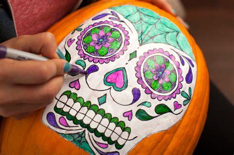 no carve sugar skull pumpkins brit co