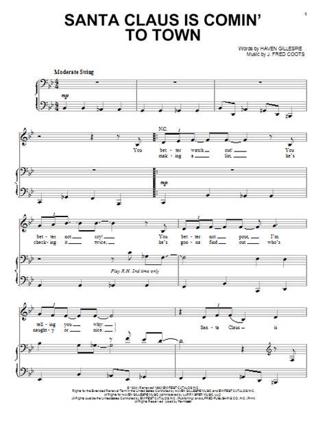 printable lyrics santa claus is coming to town santa claus is comin to town sheet music direct