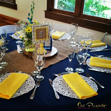table decor items navy and yellow rustic themed wedding table decor event
