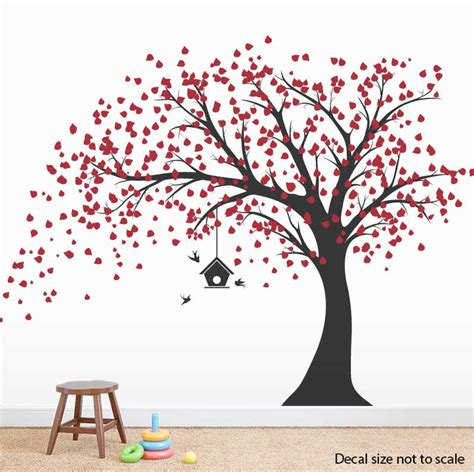 Large Tree Wall Sticker clearance large windy tree with birdhouse wall decal