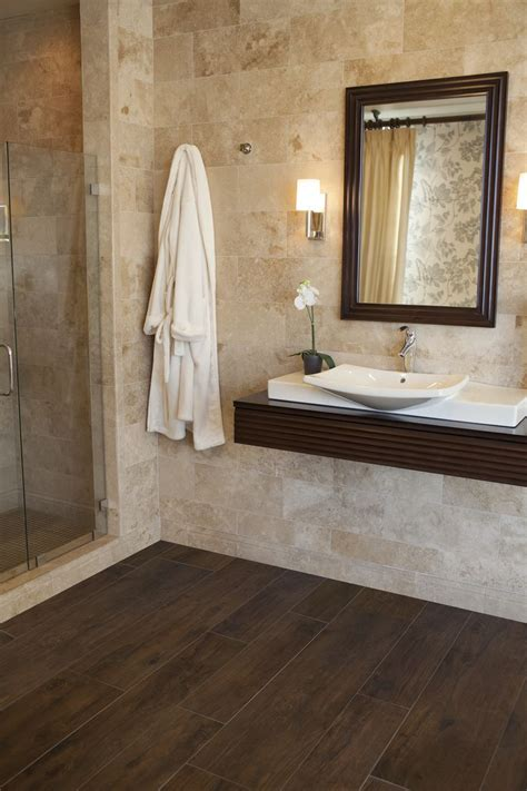 Wood Floor Bathroom Ideas 17 Best Ideas About Faux Wood Tiles On Master Bath Tile Looks Like Wood And Grey