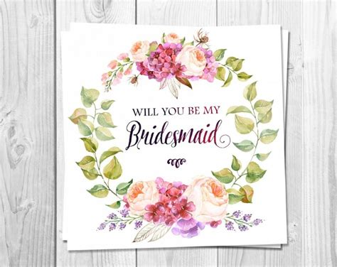 will you be my flower card template bridesmaid card printable will you be my bridesmaid