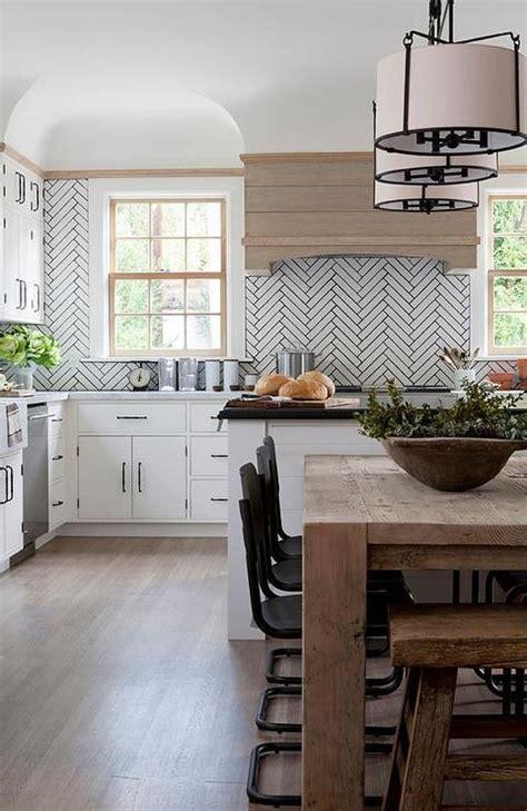 white linear kitchen backsplash  gray grout design ideas