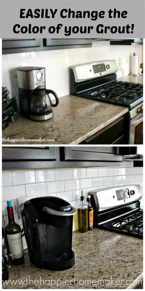 grout color change changing grout color a subway tile update the happier