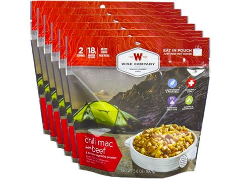 freeze dried treats wise food outdoor chili mac beef freeze dried food pack mpn 05 901