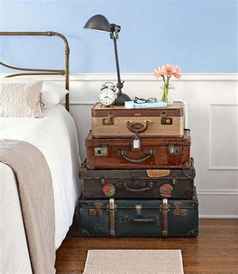 Vintage Suitcase Nightstand decorating with vintage suitcases panda s house