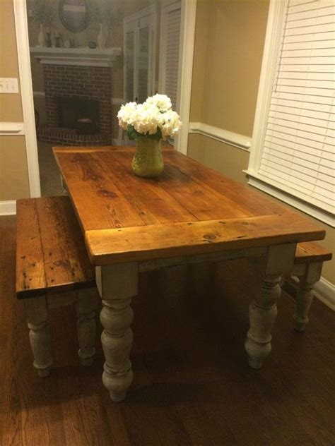 Rustic 6ft heart pine farm table with benches pine farming and farmhouse table