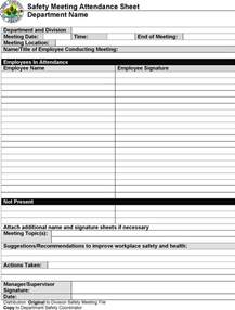 Safety Meeting Sign In Sheet Template by The Safety Meeting Sign In Sheet Can Help You Make A