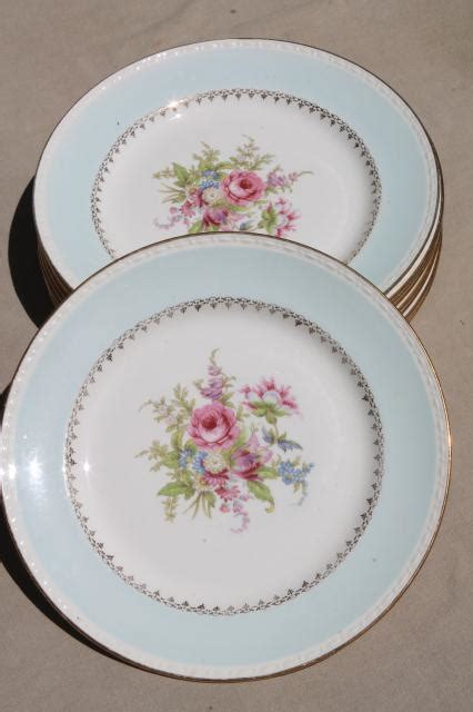 Vintage Cottage Chic Shabby Floral China Dinner Plates Shabby Chic Dinner Plates
