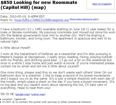 Craigslist Ta Rooms For Rent by Perhaps The Weirdest Craigslist Room Rental Ad