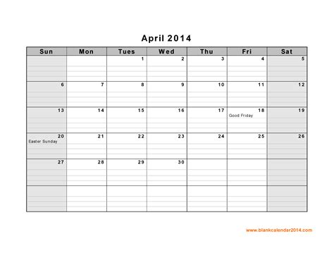 6 best images of april 2014 calendar printable pdf april