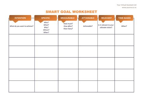 Smart Goal Setting Worksheet by Smart Goal Template Word Images
