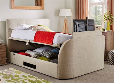 Bed Frame With Tv Inside Evolution Tv Ottoman Bed With Led Tv Oatmeal Dreams
