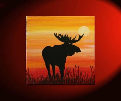 moose silhouette painting original sunset by nathalievan