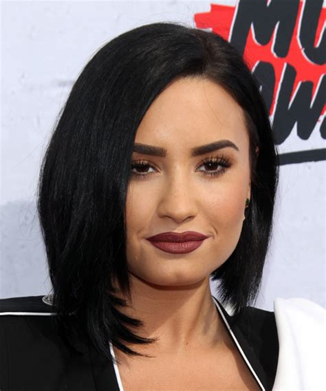 Demi Lovato Medium Straight Formal Bob Hairstyle   Black