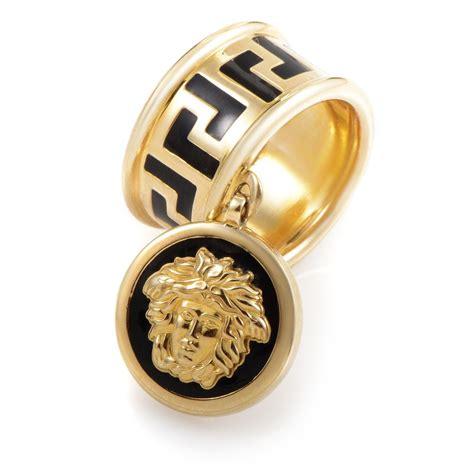 versace 18k yellow gold enamel medusa charm ring