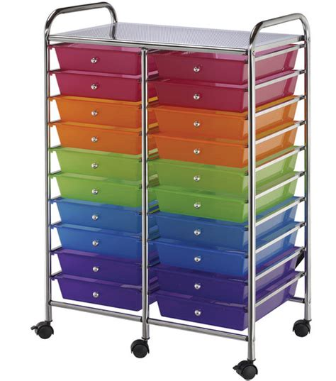 colored drawer cart storage cart double wide with 20 drawers multi color jo ann