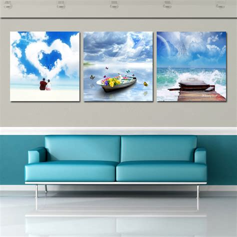 bedroom canvas art modern wall decor picture beautiful blue sky painting