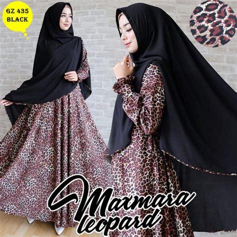 Model Baju Muslim Gamis Terbaru Dan Modern Leopard Buble Black Baju Gamis Maxmara Motif Leopard Terbaru Gz435 Hitam