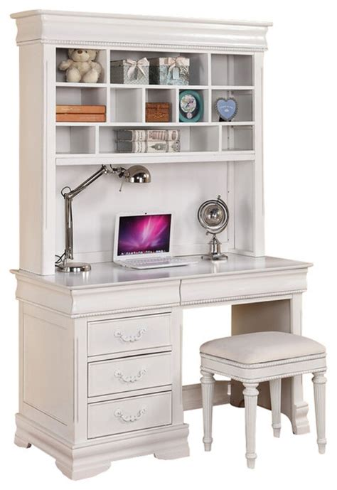 Childrens Desks With Hutch Classique Collection White Finish Wood Children S Desk Hutch And Stool Traditional Baby And
