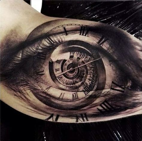 Tattoo Eye With Clock | tattoo eye clock spiral photo realistic forearm grey black