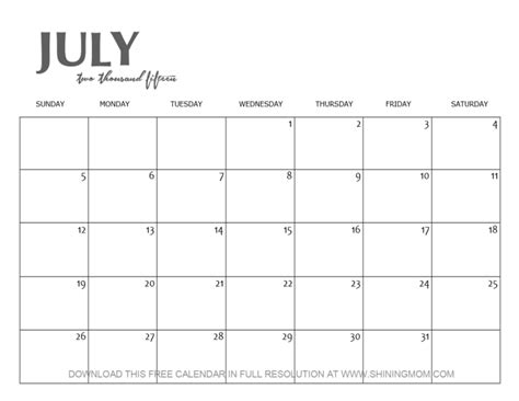 printable monthly calendar july 2015 mom shining july calendars 2015 printable page 2 new
