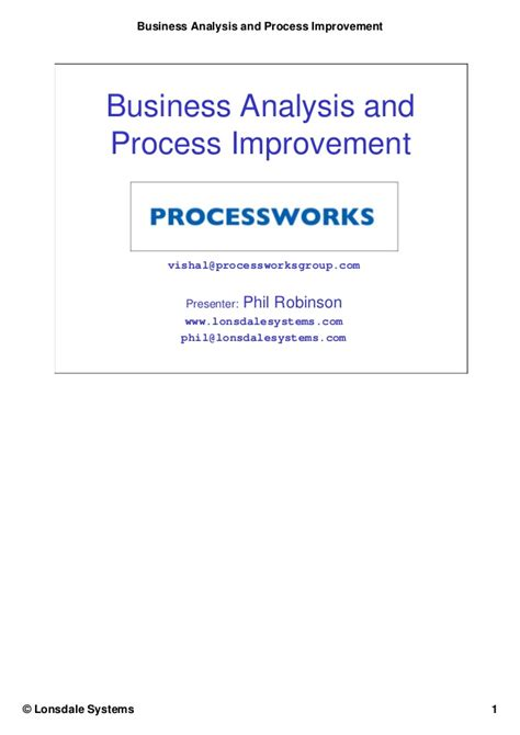 business analysis and process improvement