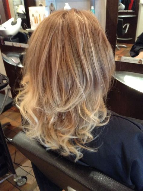 platinum blonde hair with mocha soft mocha ombre fading to beige blonde and platinum