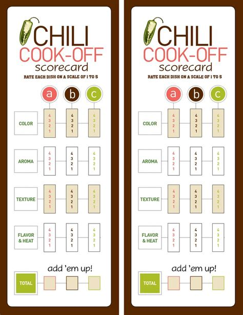 chili cook off score card chili cook off party chili cook off chili and theme parties