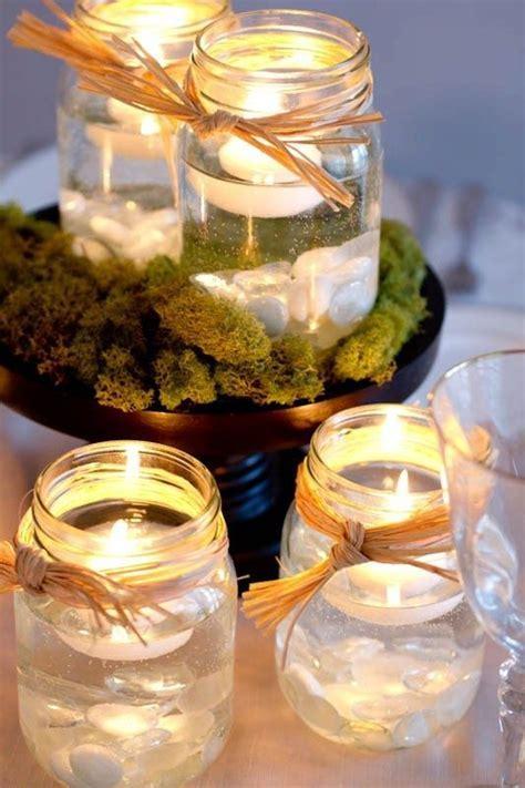Mason Jar Centerpieces with Candles   Mason jars Floating