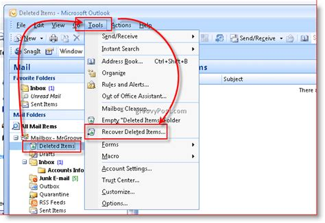 how to retrieve an item recover deleted email in microsoft outlook from any folder