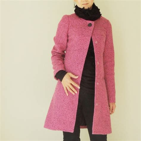 pink pattern coat pink wool dress coat by yuki waffle patterns project