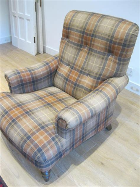 lewis button back gibson armchair in tartan plaid