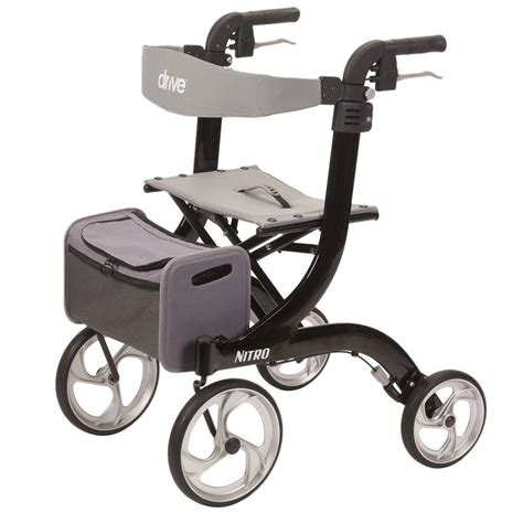 drive 4 wheel walker with seat drive nitro style black 4 wheel rollator walker