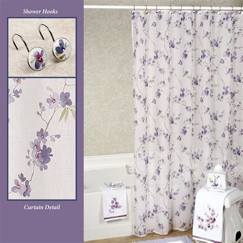 Purple Flower Shower Curtain by Pergola Floral Shower Accessories From Croscill