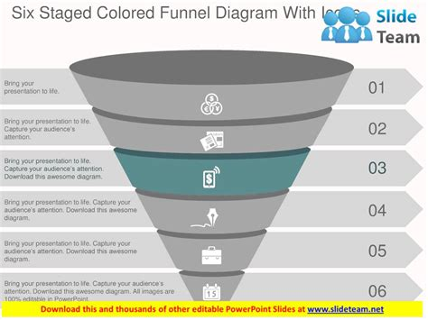 Six Staged Colored Funnel Diagram With Icons Flat How To Make A Funnel In Powerpoint