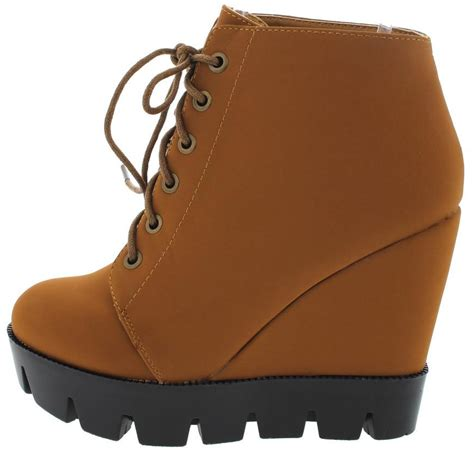 Boots Wedges 88 tense10 chestnut lug sole lace up wedge boots from 12 88
